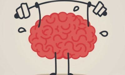 Drawing of a pink brain with narrow black squiggly legs sweating as it lifts a bar black outlined barbell with black squiggly arms.