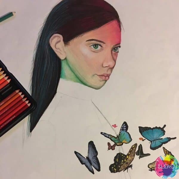 Drawing of a girl with dark hair and green eyes wearing a white shirt next to butterflies