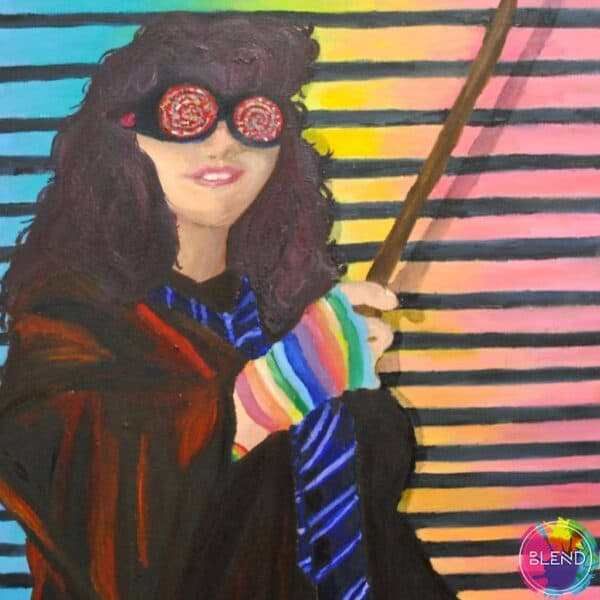 Painting of a woman in a red robe, blue shirt, striped rainbow gloves, goggles, holding a wand across a striper blue, yellow, and pink backdrop