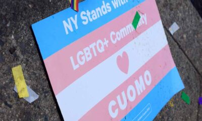 """Sign saying """"NY Stands with the LGBTQ+ Community"""" alongside a heart for Governor Cuomo."""