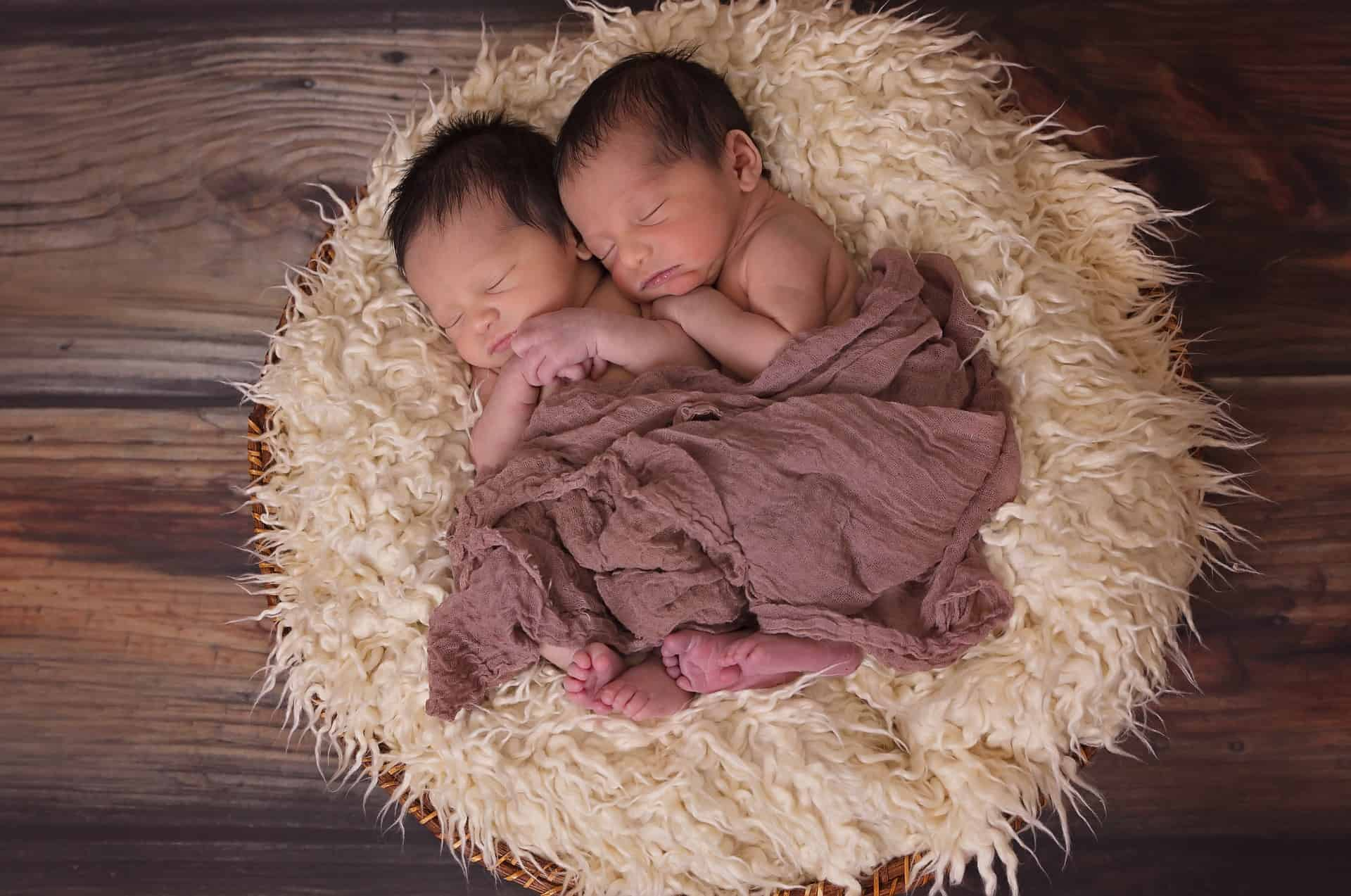 Two identical babies laying down next to each other in a small wool bed on the wooden ground.
