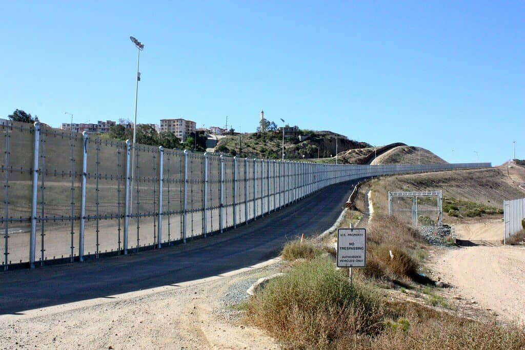 The Mexican border fence in San Diego California