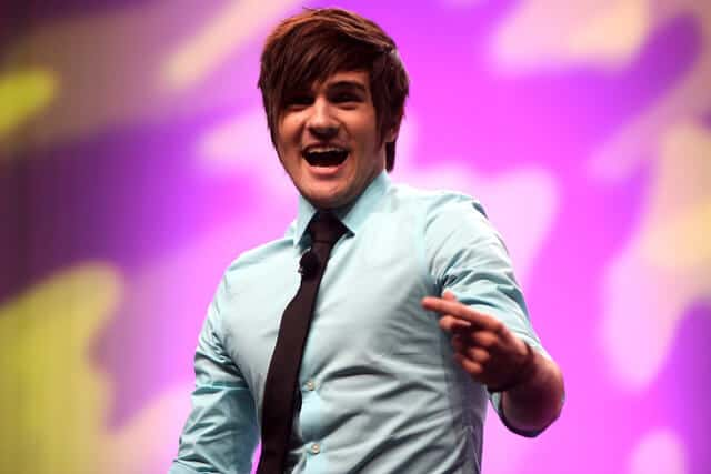 YouTuber Anthony Padilla speaks at VidCon in Anaheim California