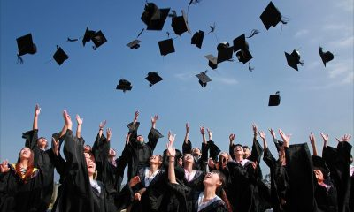 A large crowd of college graduates with black suits on throw all of their black graduation hats in the air in the blue sky.