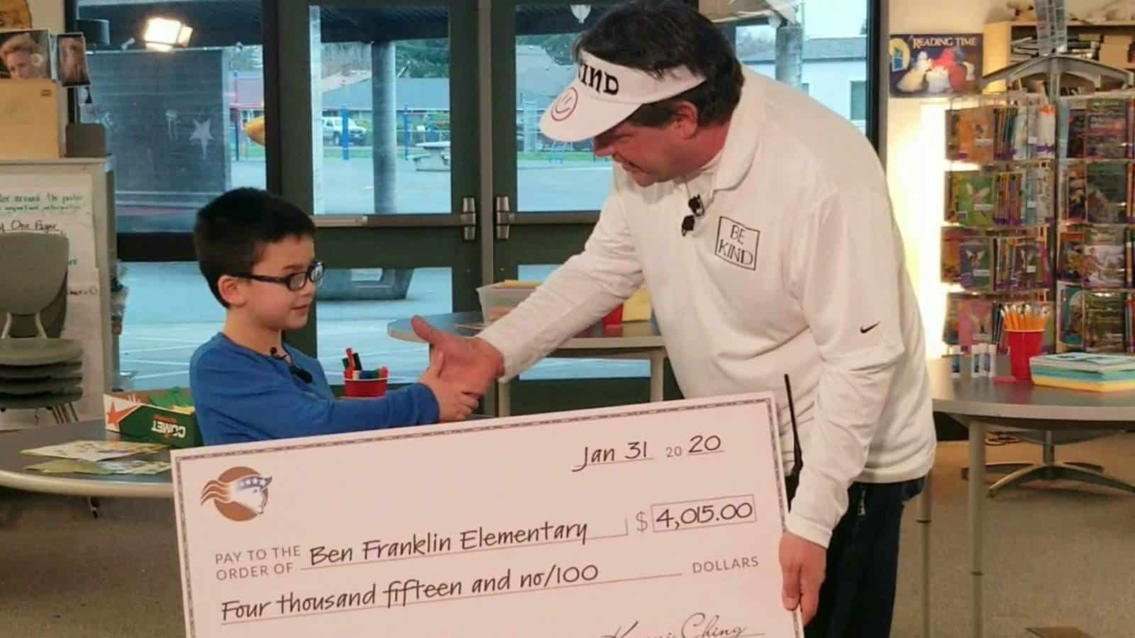 As a solution to the school lunch debt problem one elementary school once had, an elementary school boy pays off the entire school's lunch debt to help other students get some lunch money