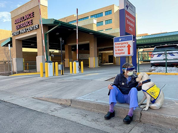 A hopsital worker with a blue jacket, jeans, purple socks, and black work boots sits on the curb while petting a white  therapy dog.