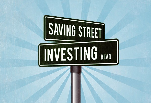 A street sign with the words SAVING STREET and INVESTING BLVD in white text on black signs.