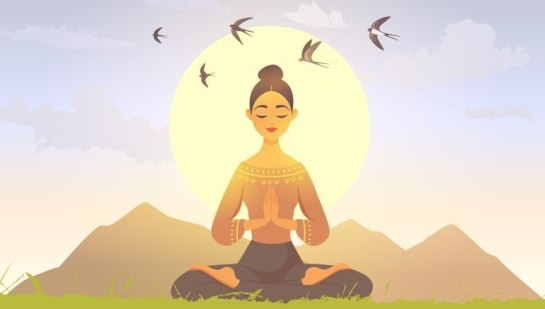 An animated drawing of a woman wearing a brown shirt with designs on it, while meditating outside on the grass with five birds behind her.