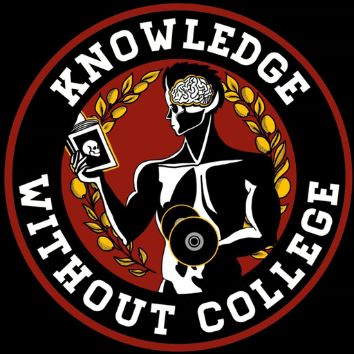 "Circular white text saying ""Knowledge Without College"" in a black and red background."