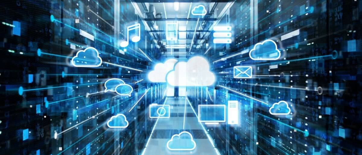 A picture of two clouds and other symbols like email, photos, music and messages all connected together for the cloud data storage security.