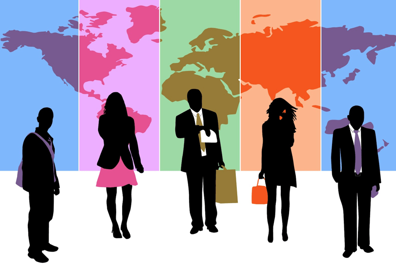 Five people traveling and representing a diverse and interconnected world