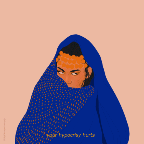 A woman rolling her eyes, wrapped in a blue scarf with 'your hypocrisy hurts' on the front