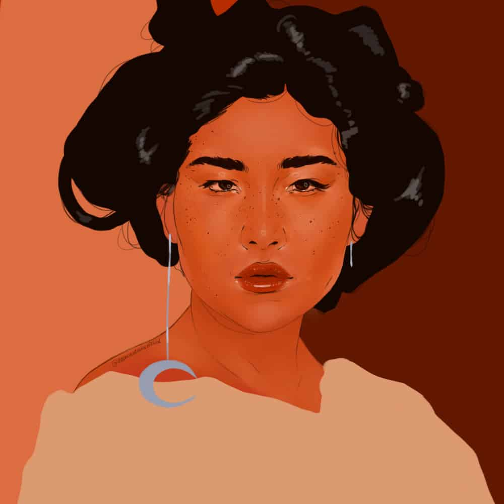 A woman with her hair up, a moon earring dangling, in a tan shirt, beautifully illustrated by Alawa