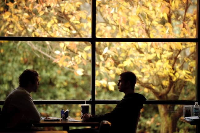 Two people sitting at a table with trees visible through a window behind them.