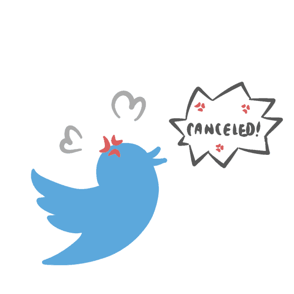 "The blue Twitter logo that has a speech bubble saying ""CANCELED."""