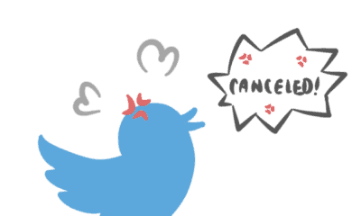 The blue Twitter logo who has a mad bubble saying