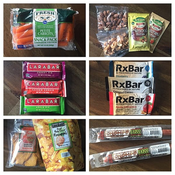 A six-square column picture showing a bag of carrots, almond butter with two bags of nuts, Lara Bars, RxBars,  two bags of dried pineapple and mangoes, and a bag of organic beef jerky.