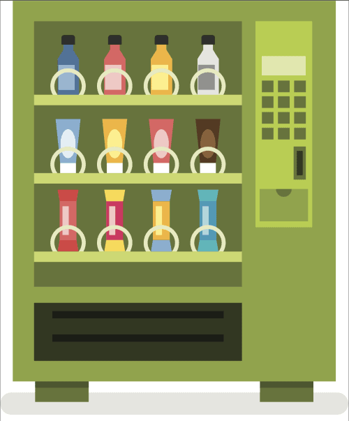 A green animated vending machine with drinks in the slots.
