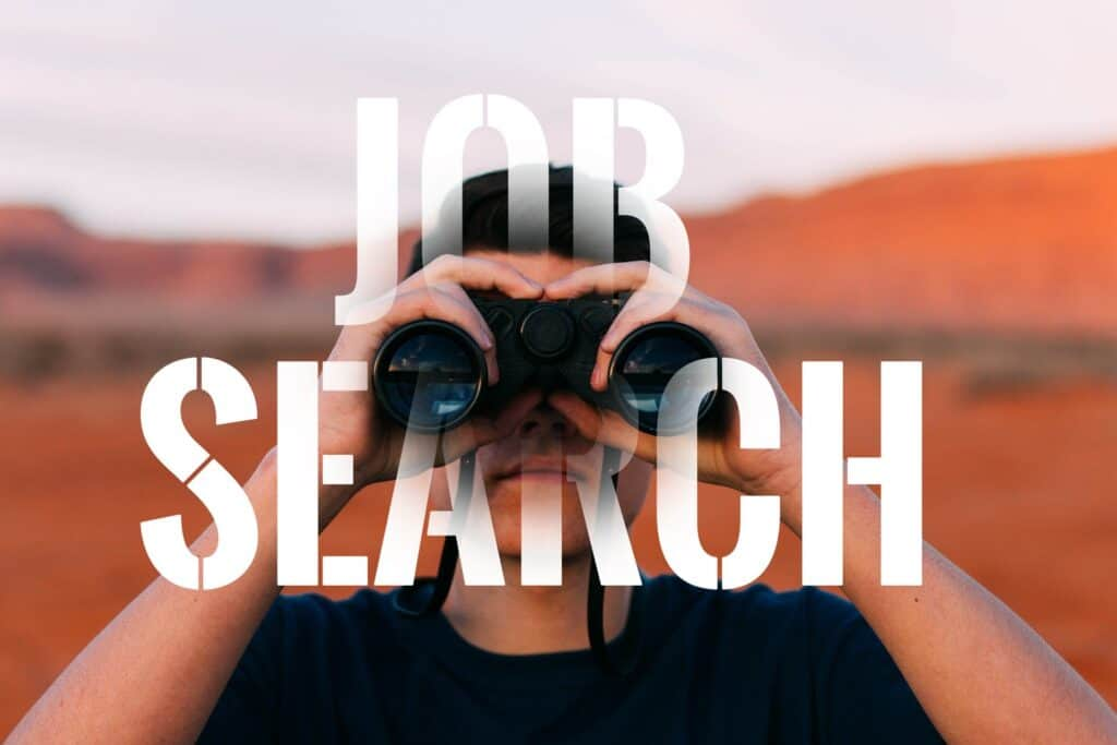 "A person looking into the camera with binoculars, wearing a dark shirt and ""JOB SEARCH"" overlaid on top."