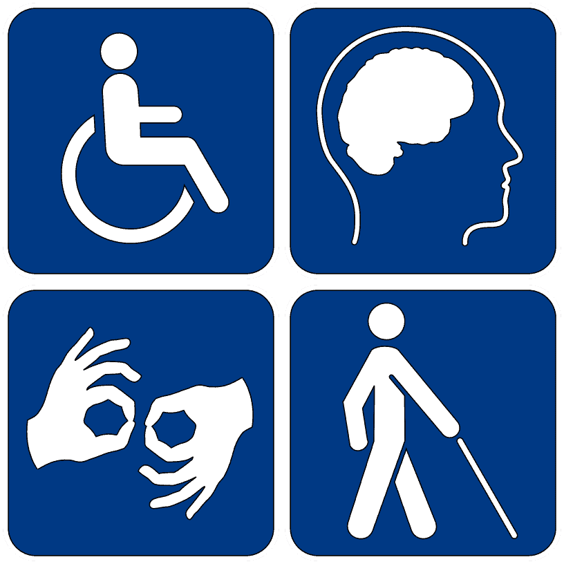 The 4 disability symbols - animation of a person in a wheel chair, a head and brain, 2 hands signaling ok, and a person walking with a white cain.