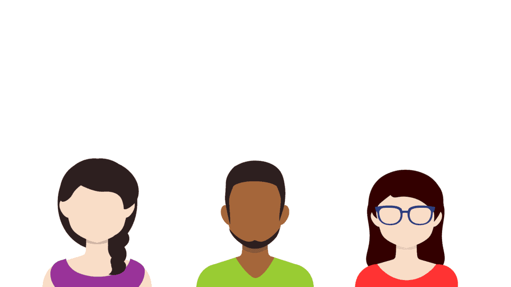 Drawing of a white woman with braided dark hair in a purple shirt, a bearded black man in a green shirt, and another white woman with dark hair, glasses, in an orange shirt