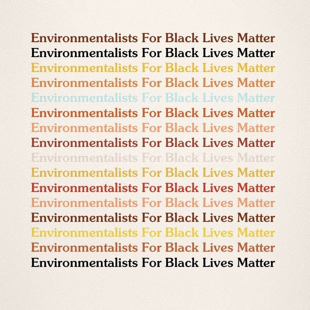 "The sentence, ""Environmentalists for Black Lives Matter"" in different variations of dark and bright colors."