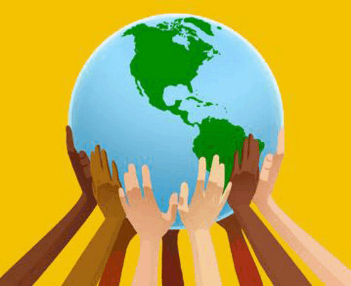 The planet Earth on an orange background with animated hands of people with different skin tones.
