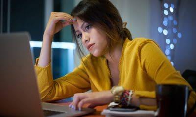 International student studying at night online school