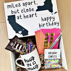 Miles apart, but close at heart, birthday care package