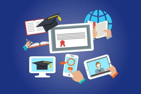 Many screens depicting online learning, graduation, school, and learning