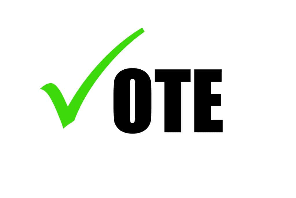 Green checkmark in place of V for Vote, urging everyone to go vote this election!
