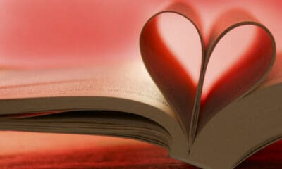 Pages in a book creating a heart-shape