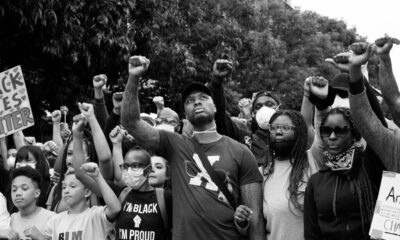 Damian Lillard at a protest with many other people supporting Black Lives Matter