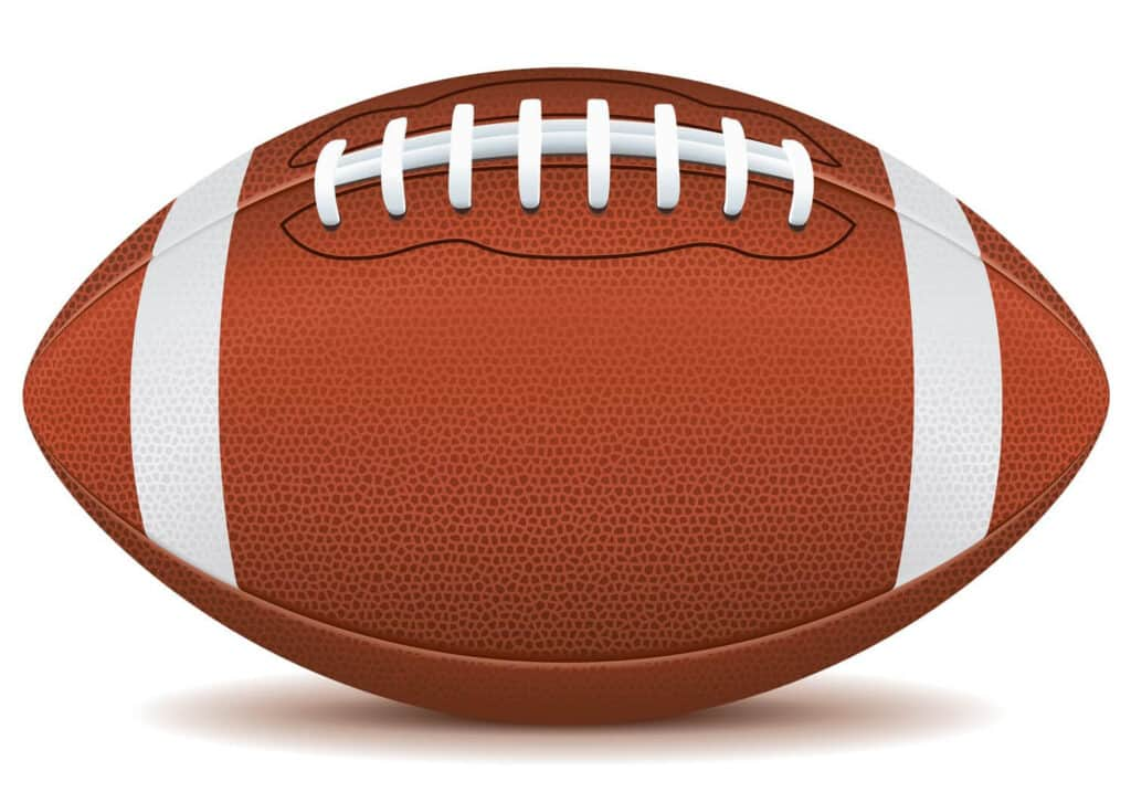 A football laid down so the grips are facing up, a white stripe on both ends of the ball