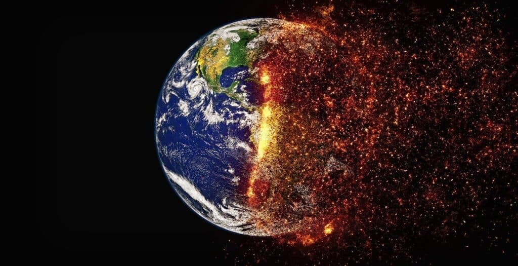 Earth undergoing extreme changes causing half to ignite, most likely from a core meltdown