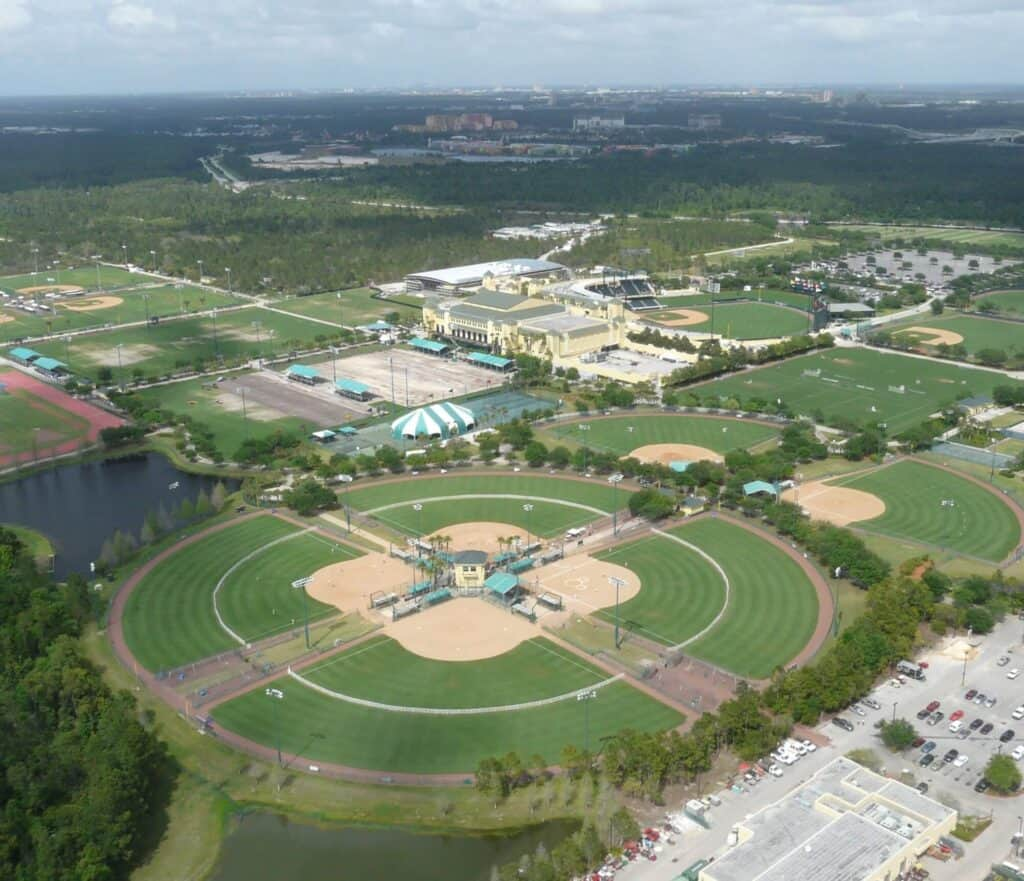 Aerial view of some of the facilities at the Disney complex in Orlando, where the NBA season of 2020 was played.