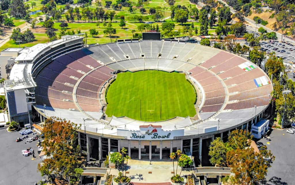 Zoomed out, aerial shot of the Rose Bowl Stadium