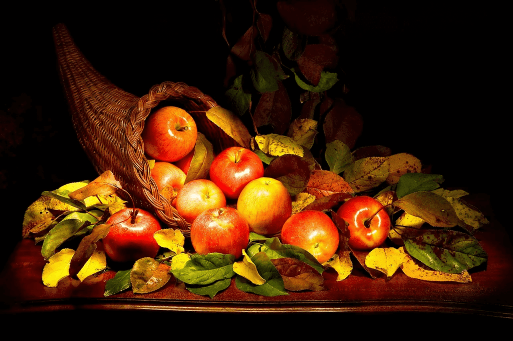 Spread of many apples and leaves out of the cornucopia basket