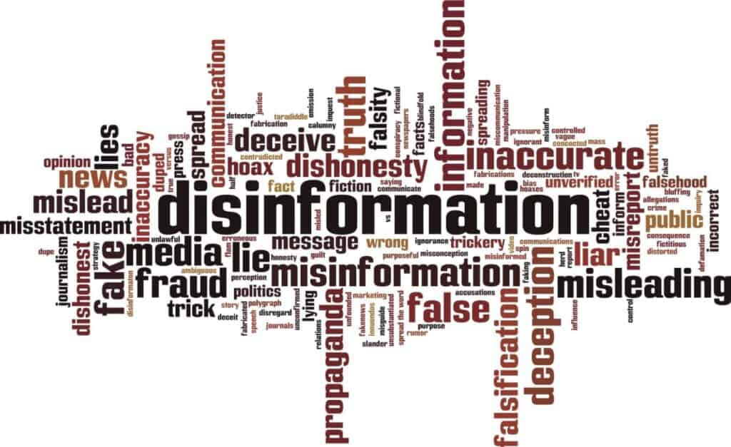 A cluster of words such as disinformation, fake, fraud, false, etc. in various font sizes.