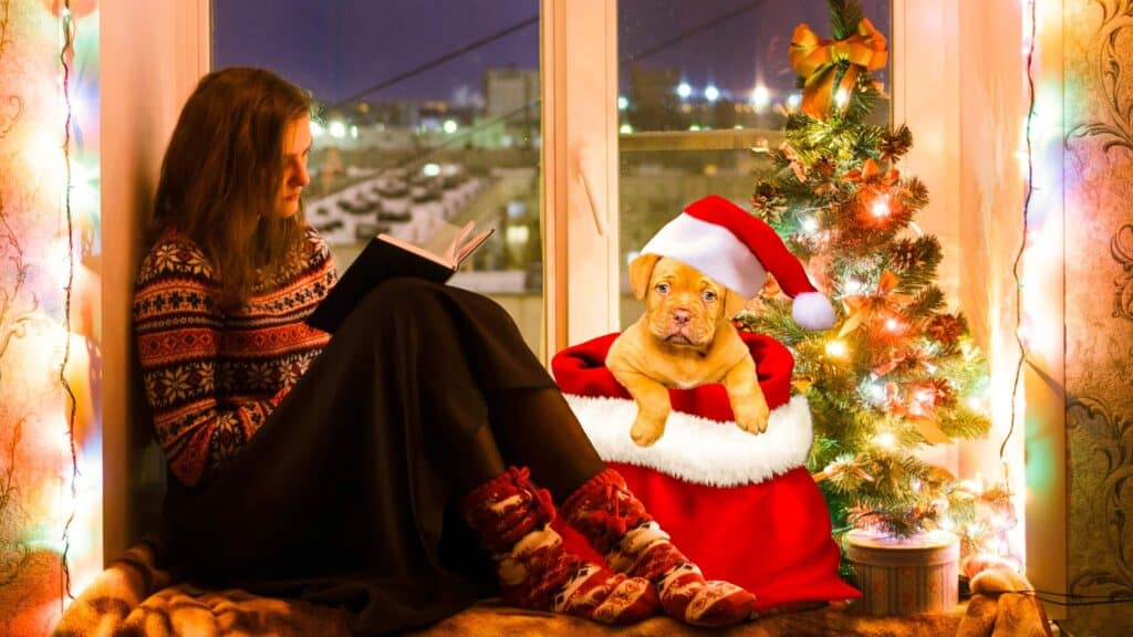 A woman in a holiday sweater sitting on a window sill reading a book next to a puppy with a Santa hat on.