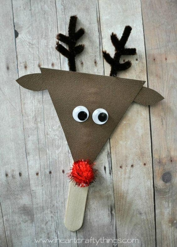 Homemade popsicle reindeer ornament.