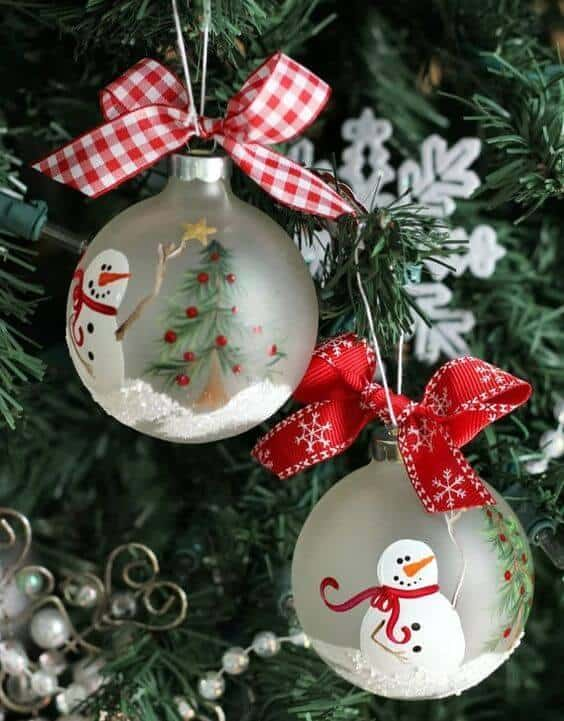 Two ornaments with snowmen on them.