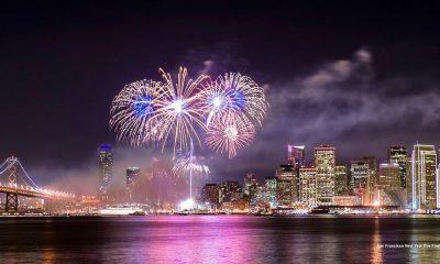 Fireworks above Treasure island in San Francisco.