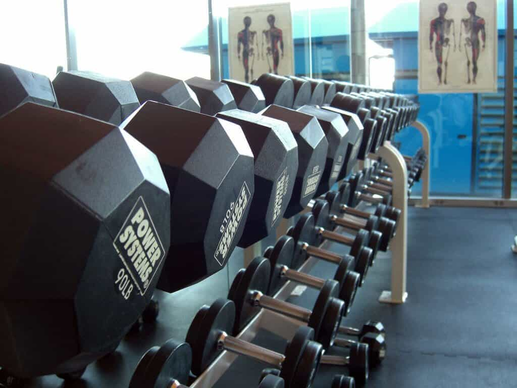 A rack of dumbbells of various weights.