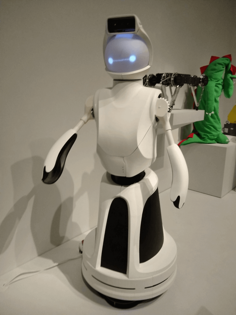 Close up of an interactive robot, complete with little light