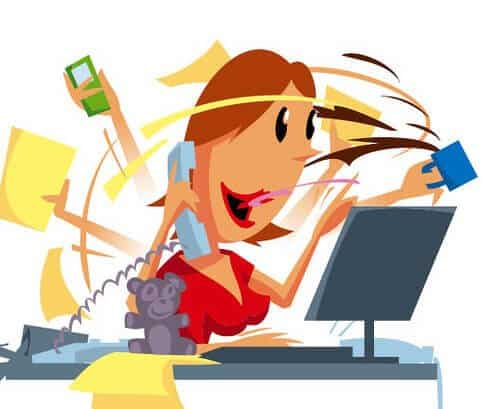 A cartoon of a women doing many tasks at once, speaking on the phone, on the computer, holding a purse.