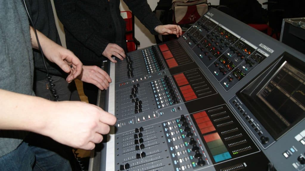A closeup of a soundboard.