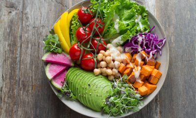 A plate full of various plant based foods.