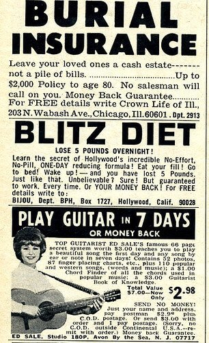 An old newspaper clipping for the blitz diet.
