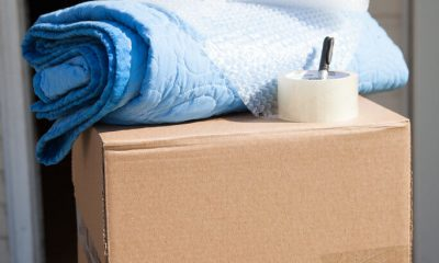 A moving box and moving supplies.